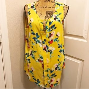 Rose + Olive yellow floral sleeveless top